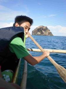 This is me pretending to paddle-drive the boat by myself to Capones Island