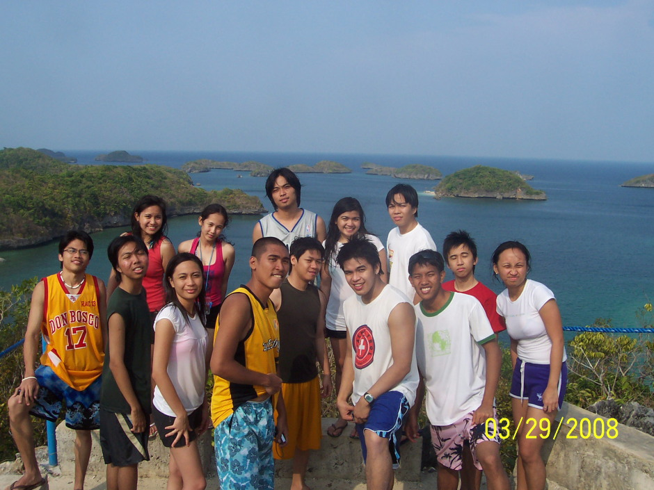 Us at the view deck of Governor's Island, overlooking some Hundred Islands