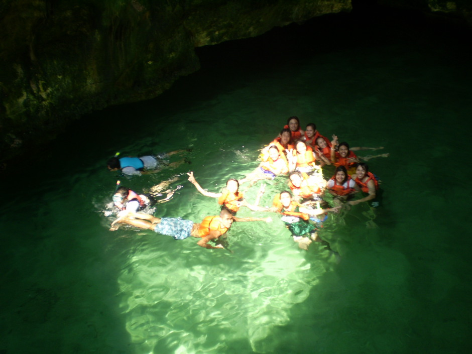 Us after the first jump inside the cave in Marcos Island