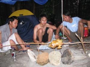 Cooking dinner at Anawangin