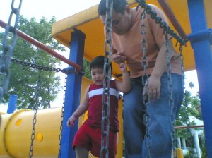 Joaquin playing with his dad