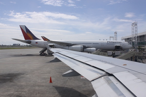 An Airbus of Philippine Airlines parked at one of the gates of NAIA Terminal 2 from my window seat