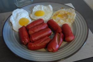 Eggs and hotdogs