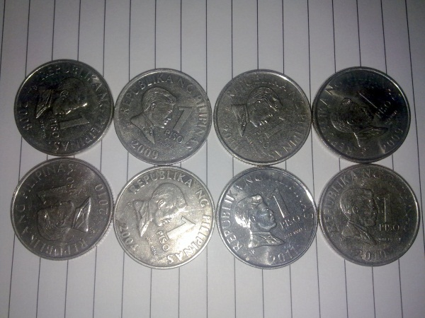 Eight Pesos worth of Philippine coins