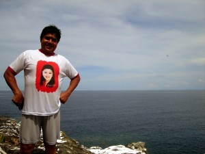 Mayor Rodelo Tena of Jomalig at the top of Manlanat Island