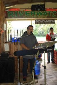 Singer inside Floating Restaurant in Loboc River