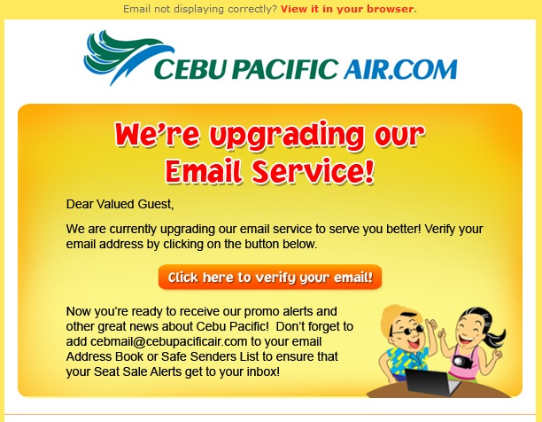 Cebu Pacific Air Email Upgrade