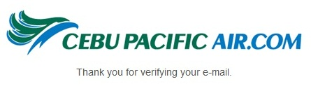 Cebu Pacific Air Email Confirmation