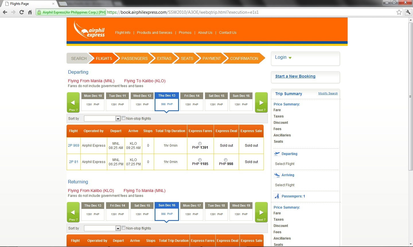 Airphil Express New Flight Reservation Design