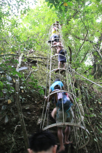 Going up the ladder from Cavint Falls