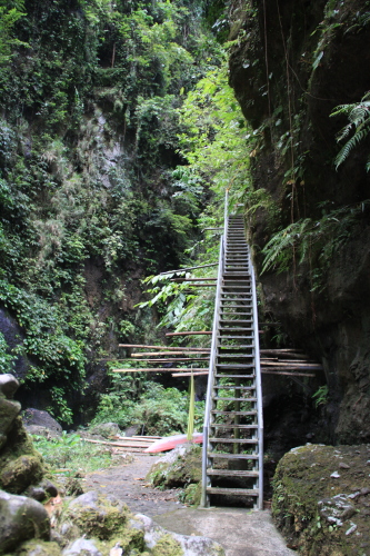 The bottom steel stairs leading to Cavinti Falls