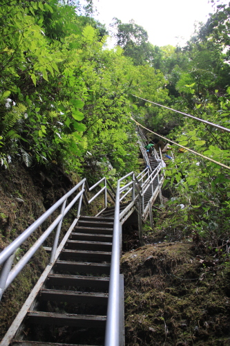 Steel stairs going down to Cavinti Falls