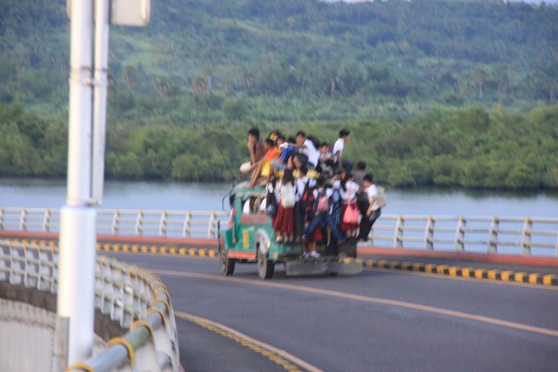 A jeepney crossing San Juanico Bridge