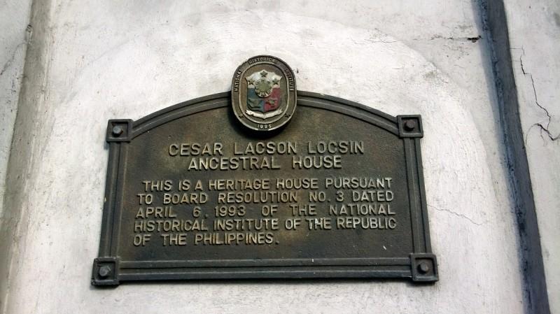Cesar Lacson Locsin Ancestral House Marker