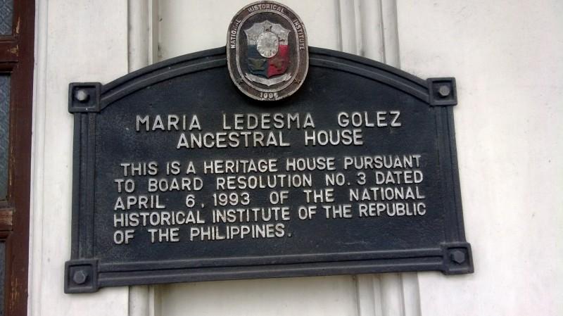 Maria Ledesma Golez Ancestral House marker