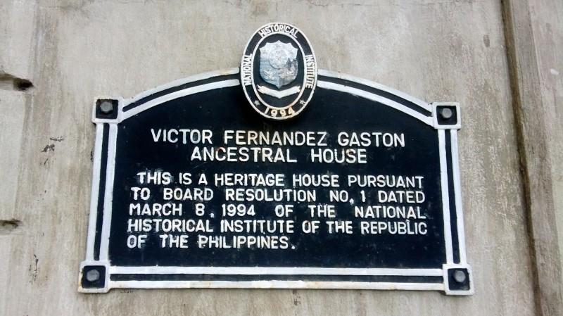 Victor Fernandez Gaston Ancestral House Marker