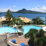 Leyte Park Hotel Pool, Villas, and Mount Danglay at the background