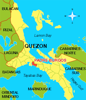 Location of Padre Burgos in Quezon