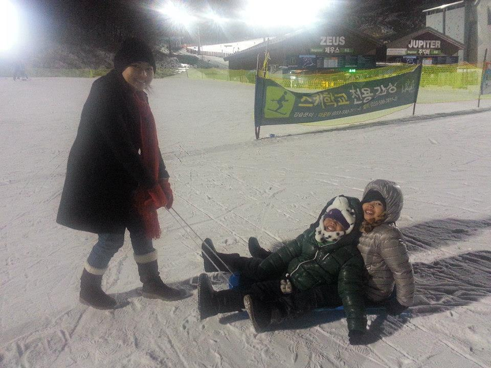 Children playing with snow in Korea