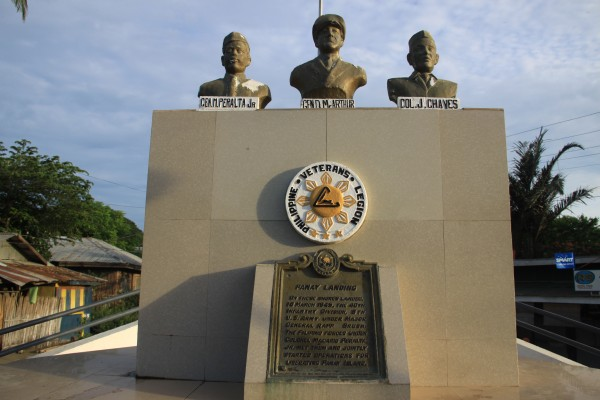 Peralta, MacArthur, and Chaves at Panay Landing Memorial