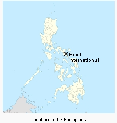 Bicol International Airport location in the Philippines