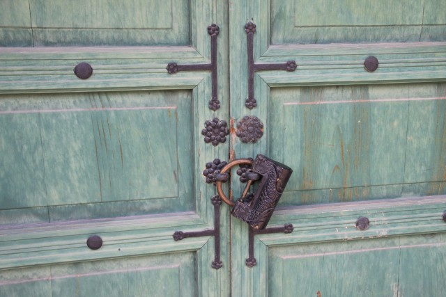 A locked door in Changdeok Palace