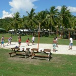 Playing volleyball at Whiterock Waterpark and Beach Hotel